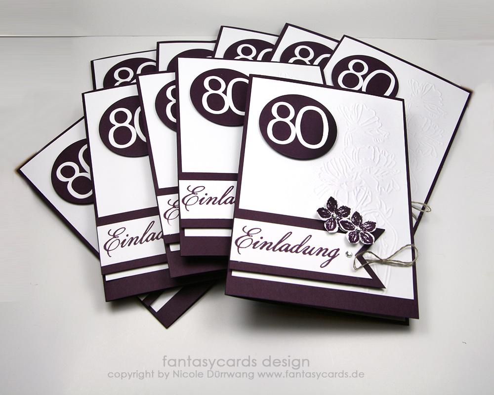 Einladungskarten zum 80. Geburtstag | Nicoles Kartenwerkstatt