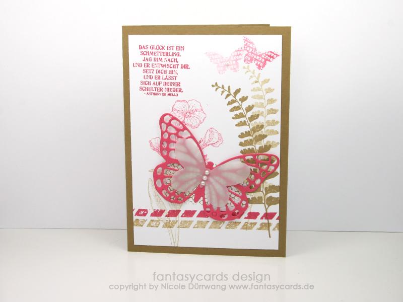 Schmetterlingskarte in Pink