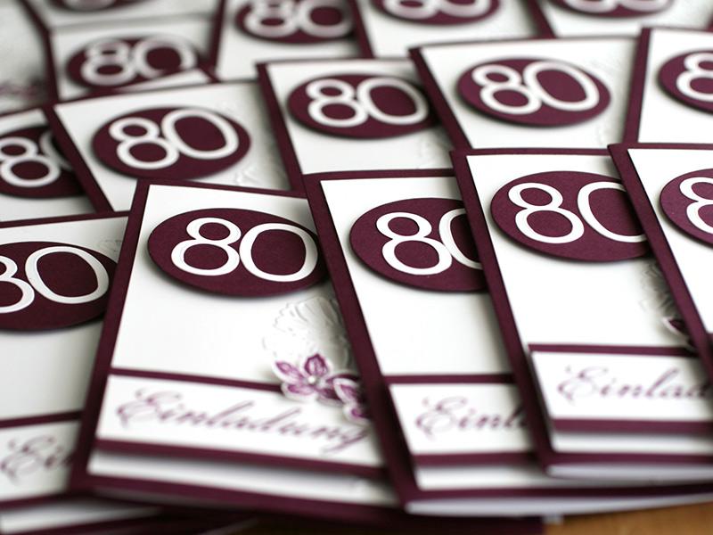 einladungskarten zum 80. geburtstag | nicoles kartenwerkstatt, Einladungsentwurf