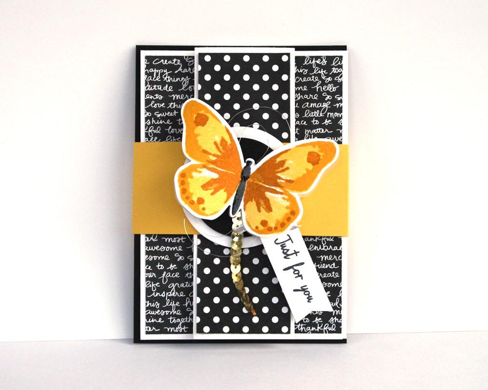 Schmetterlingkarte schwarz