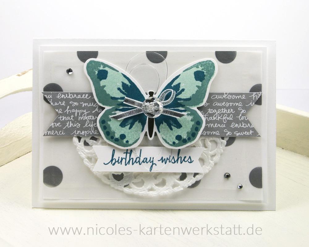 Schmetterlingskarte Silber