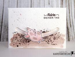 Glücksschweinchen Kullerkarte