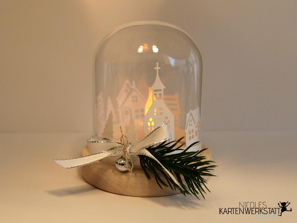 Teelicht Glas Winterstadt