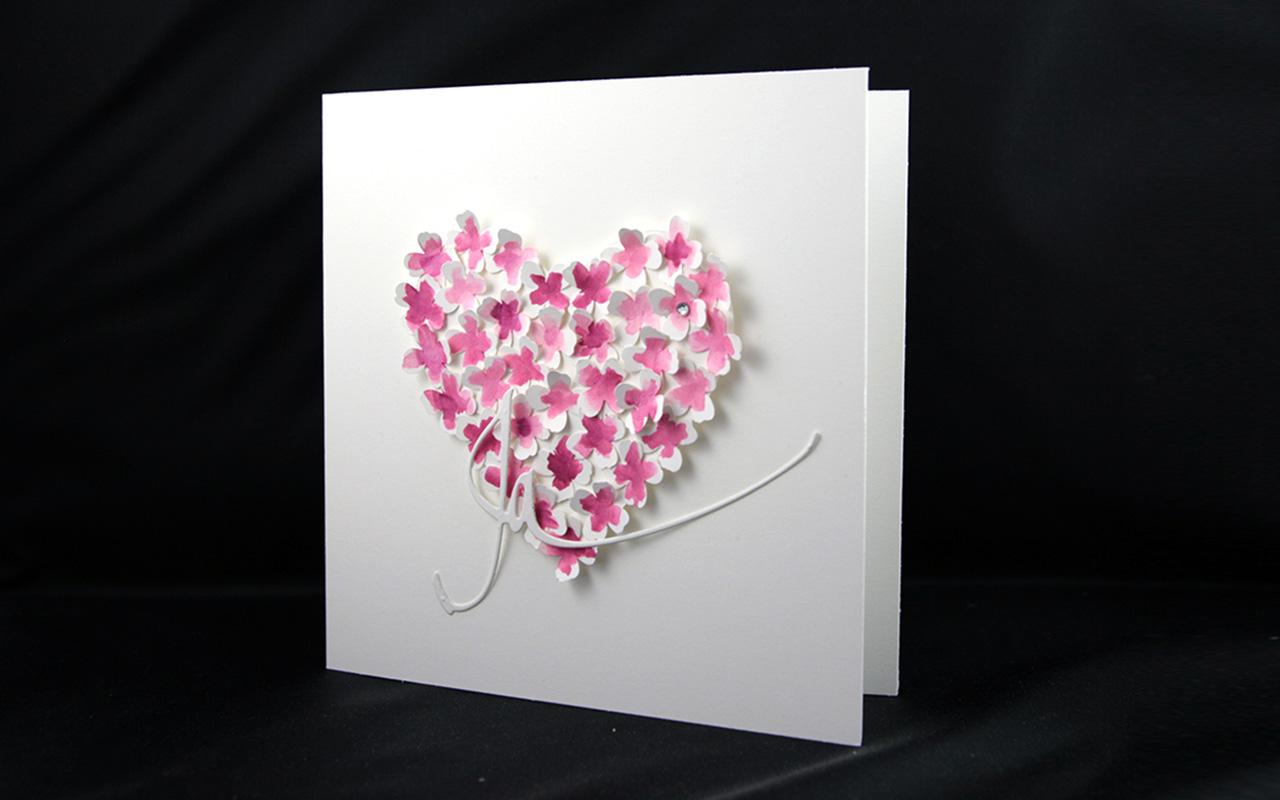 Hochzeitskarte Blütenherz