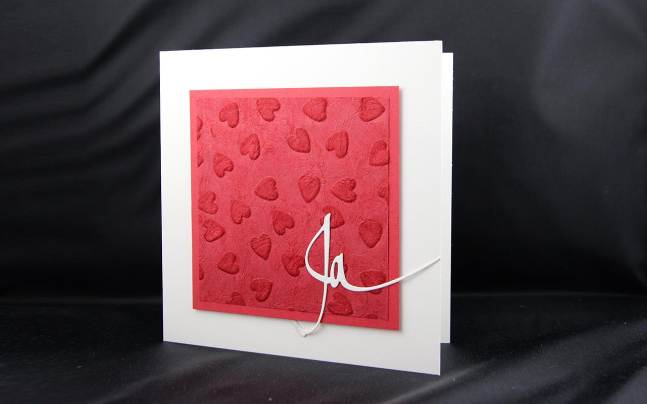 Hochzeitskarte rot Herzen