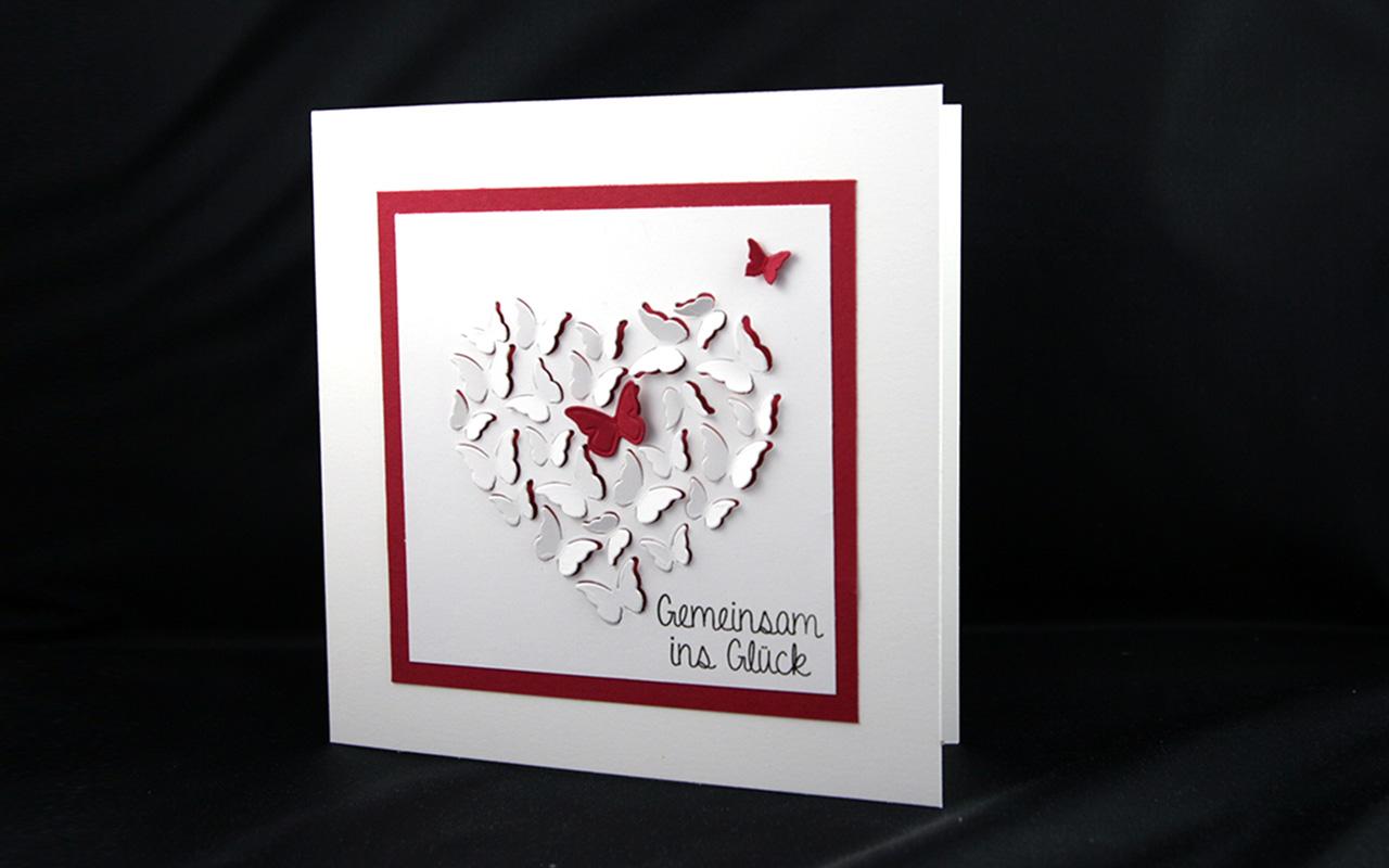 Hochzeitskarte Schmetterlingsherz