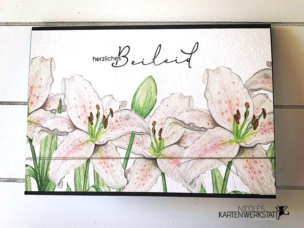 Trauerkarte mit Lilien
