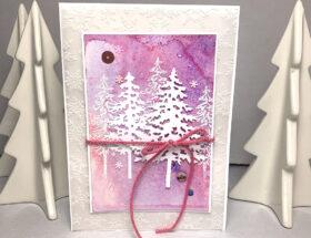 Weihnachtskarte in Rosa