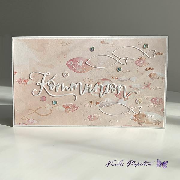 Kommunionskarte in Rosa
